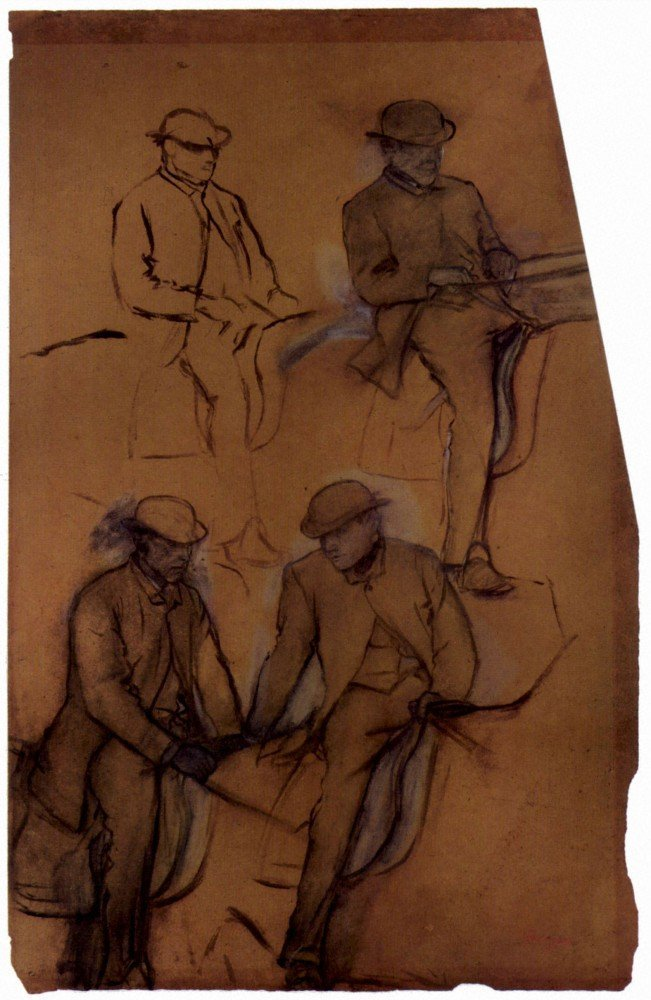 100% Hand Painted Oil on Canvas - Four riders - A study by Degas - 30x40 Inch