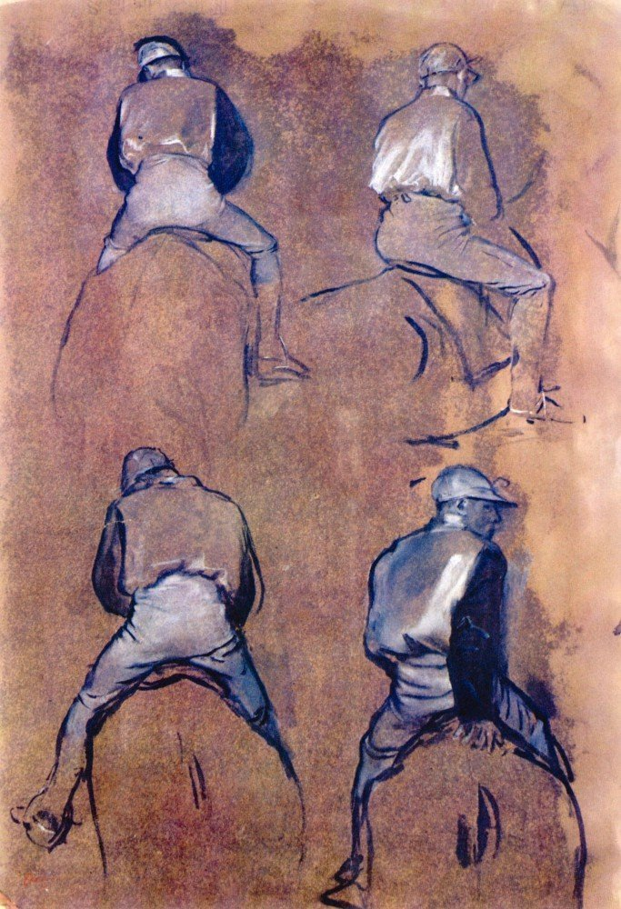 100% Hand Painted Oil on Canvas - Four studies of Jockeys by Degas - 30x40 Inch