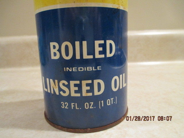 Vintage 32 oz can of Spencer SK Kellogg Boiled Linseed OIL