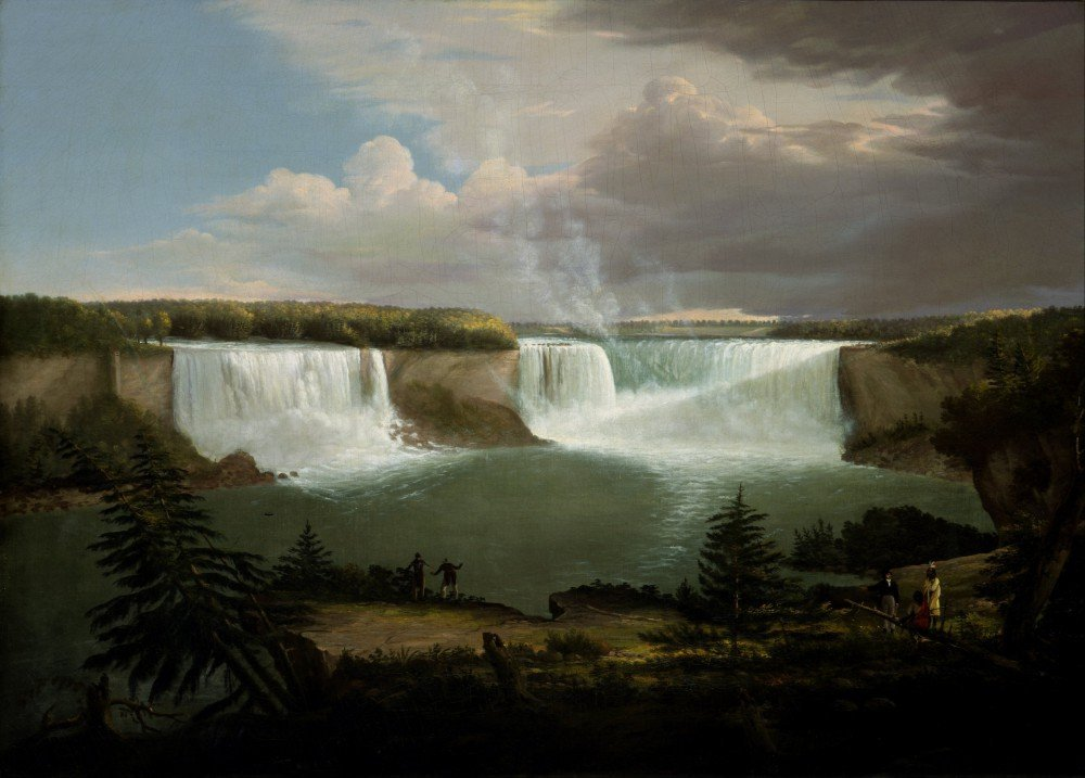 100% Hand Painted Oil on Canvas - Alvan Fisher - Niagra Falls - 24x36 Inch