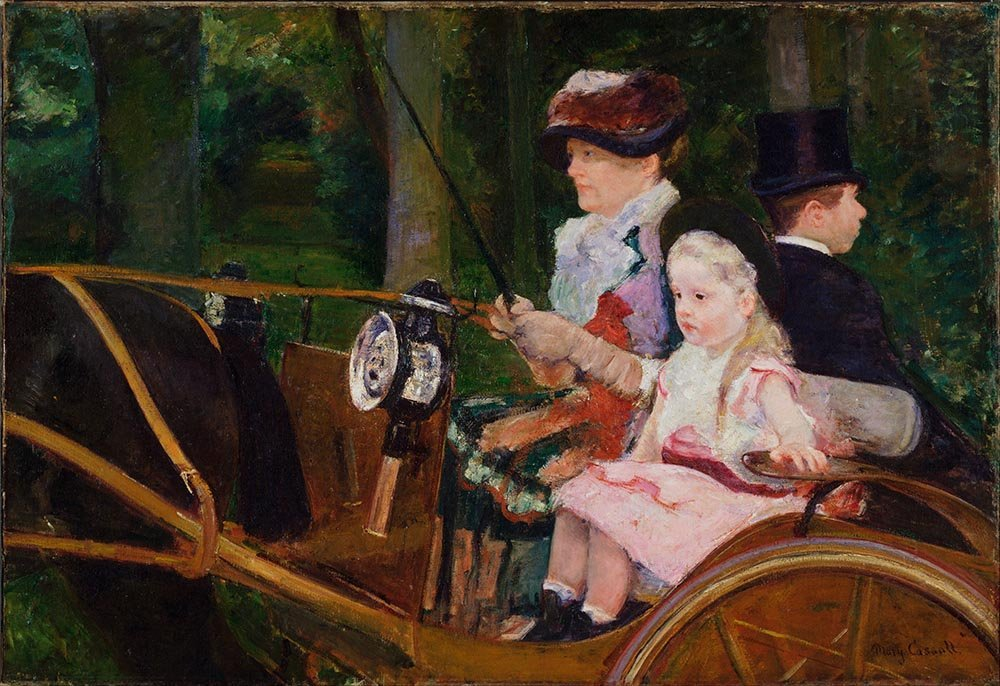 100% Hand Painted Oil on Canvas - Cassatt - A Woman and a Girl Driving - 24x3...