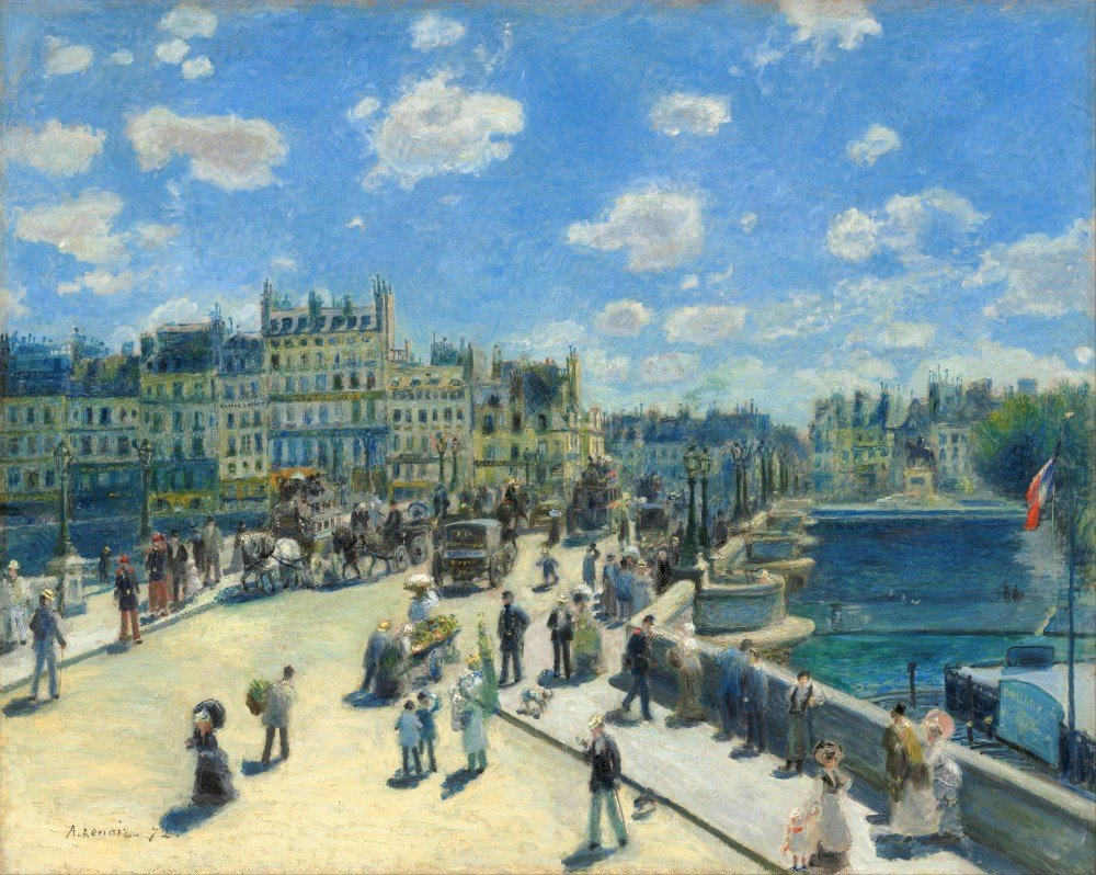 100% Hand Painted Oil on Canvas - Renoir - Pont Neuf, Paris - 24x36 Inch