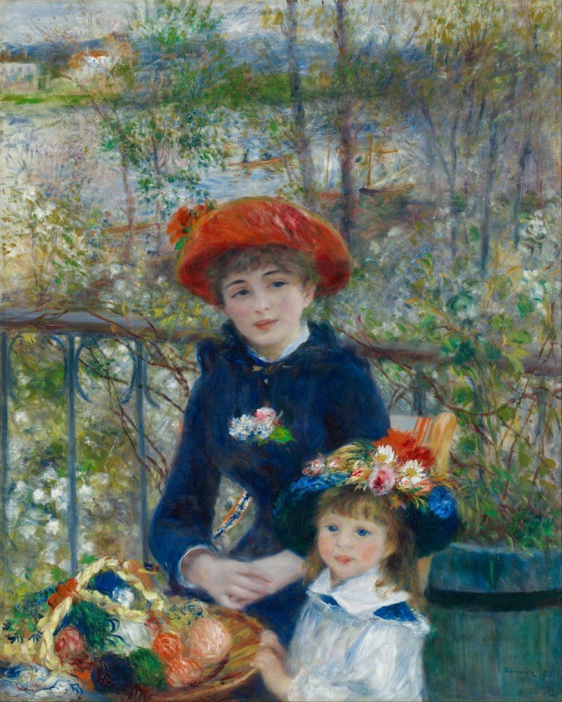 100% Hand Painted Oil on Canvas - Renoir - Two sisters on the terrace 2 - 24x...