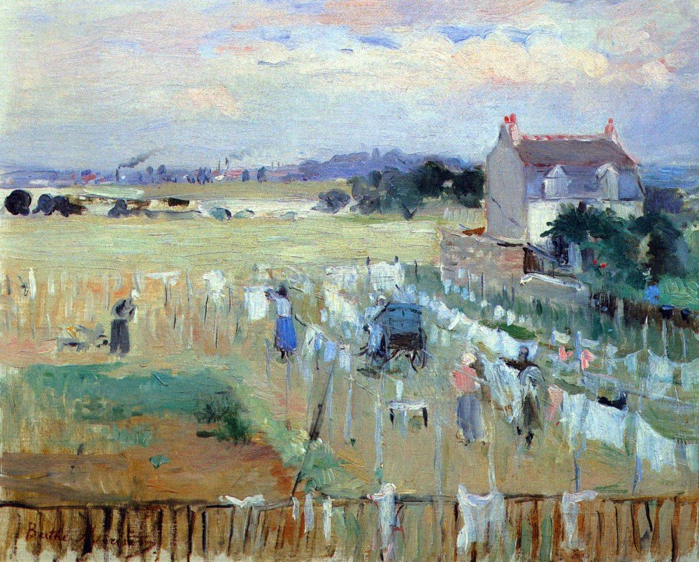 100% Hand Painted Oil on Canvas - Laundry drying by Morisot - 24x36 Inch