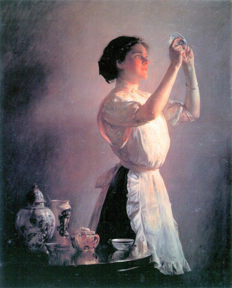 100% Hand Painted Oil on Canvas - The blue cup by Joseph DeCamp - 24x36 Inch
