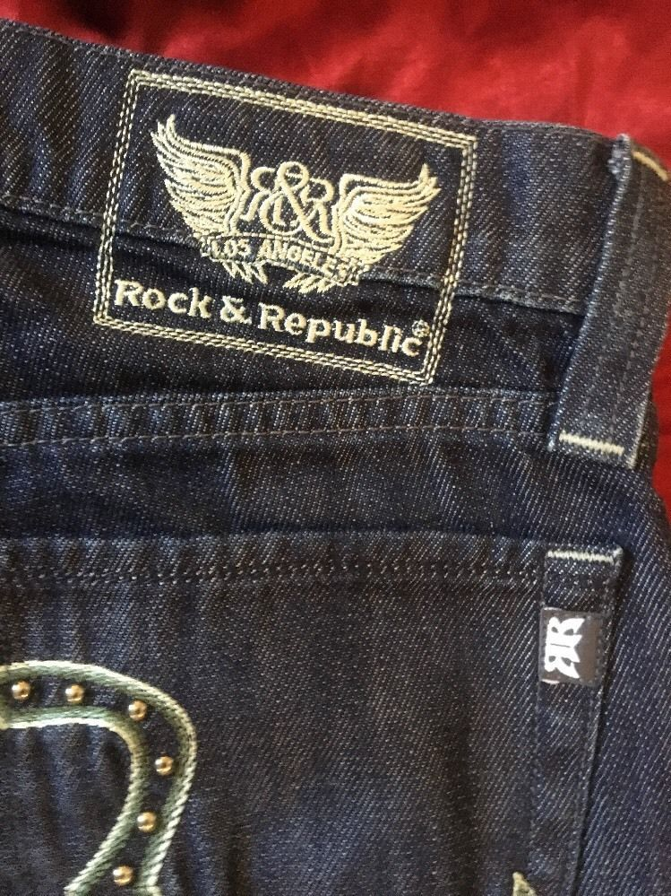 "Rock & Republic Los Angeles Women's Straight Leg Button Fly Jeans Size 28"" X 34"""