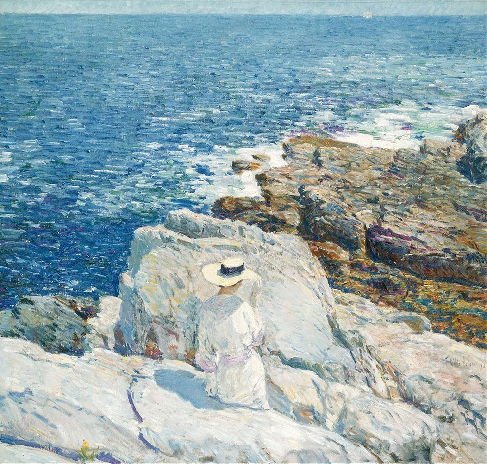 100% Hand Painted Oil on Canvas - Childe Hassam - The South Ledges, Appledore...