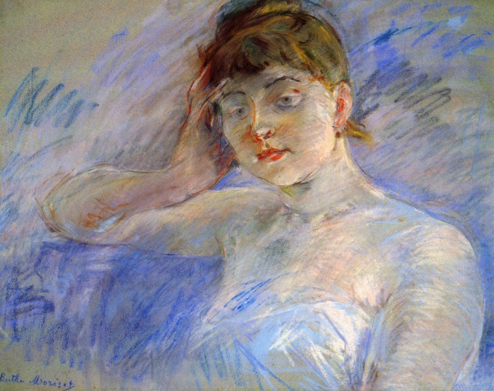 100% Hand Painted Oil on Canvas - Young woman in white by Morisot - 24x36 Inch
