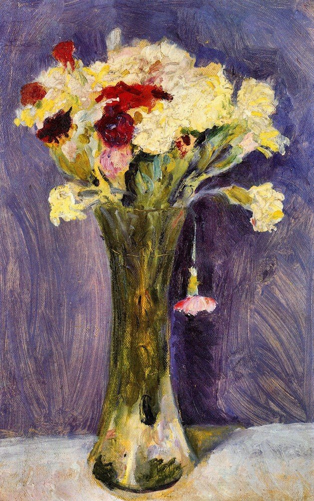100% Hand Painted Oil on Canvas - Carnations in a green vase by August Macke ...