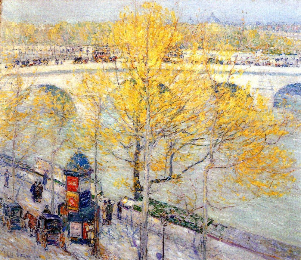 100% Hand Painted Oil on Canvas - Pont Royal, Paris by Hassam - 24x36 Inch