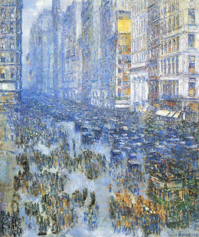 100% Hand Painted Oil on Canvas - Fifth Avenue by Hassam - 24x36 Inch