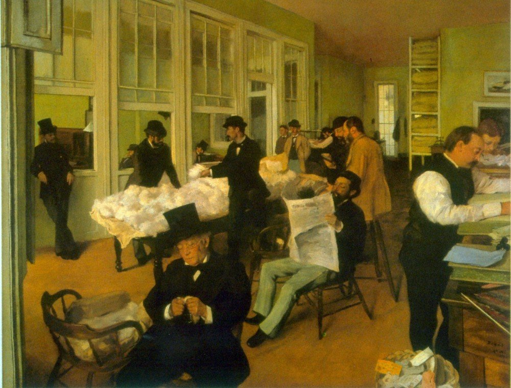 100% Hand Painted Oil on Canvas - Cotton Exchange by Degas - 24x36 Inch