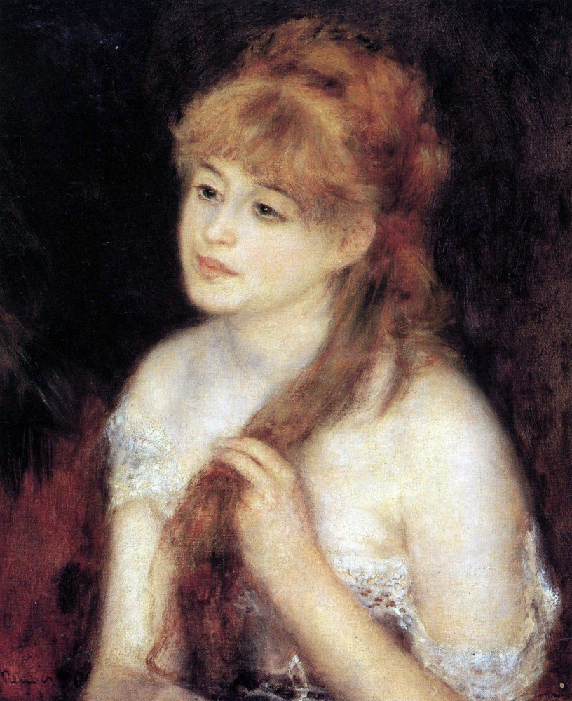 100% Hand Painted Oil on Canvas - Young woman strokes her hair by Renoir - 24...