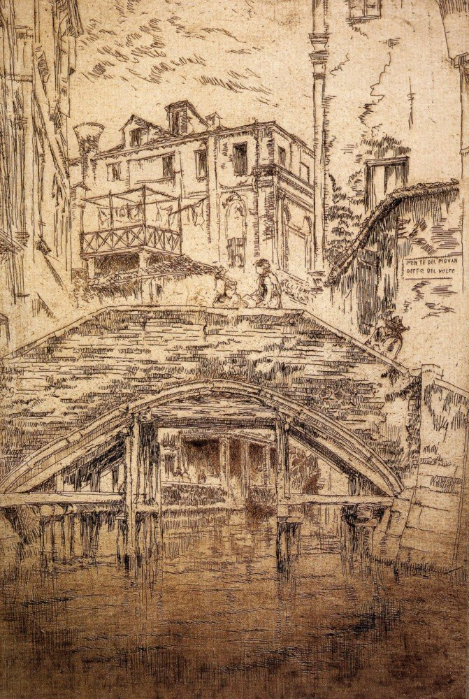 100% Hand Painted Oil on Canvas - Ponte del Piovan by Whistler - 24x36 Inch
