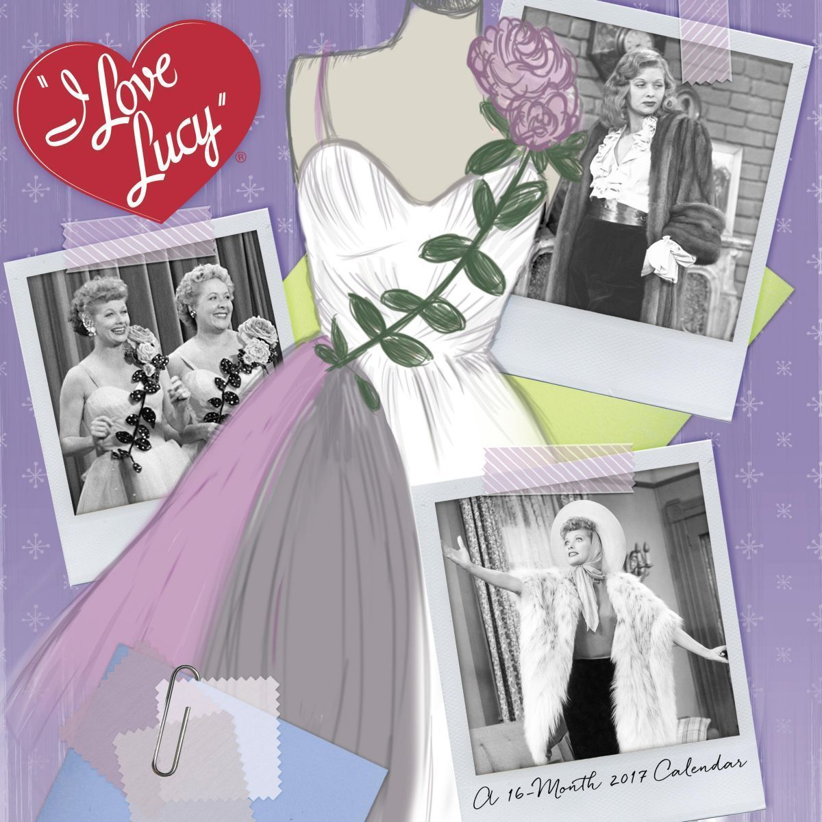 Mead Purple I Love Lucy 16 Month 2017 Calendar W/Iconic Past Pictures New Sealed