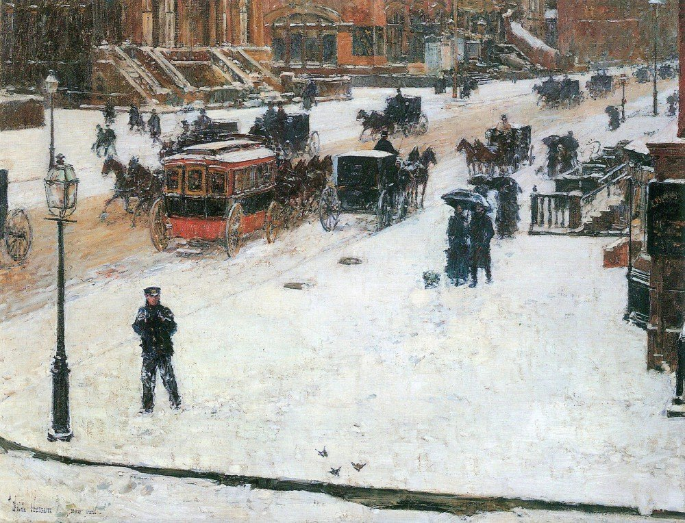 100% Hand Painted Oil on Canvas - Fifth Avenue in Winter by Hassam - 24x36 Inch