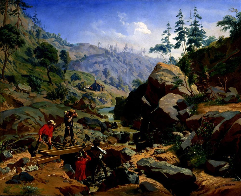 100% Hand Painted Oil on Canvas - Charles Nahl - Miners in the Sierras - 24x3...