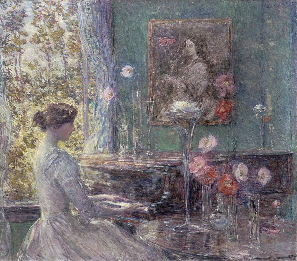 100% Hand Painted Oil on Canvas - Childe Hassam - Improvisation - 24x36 Inch