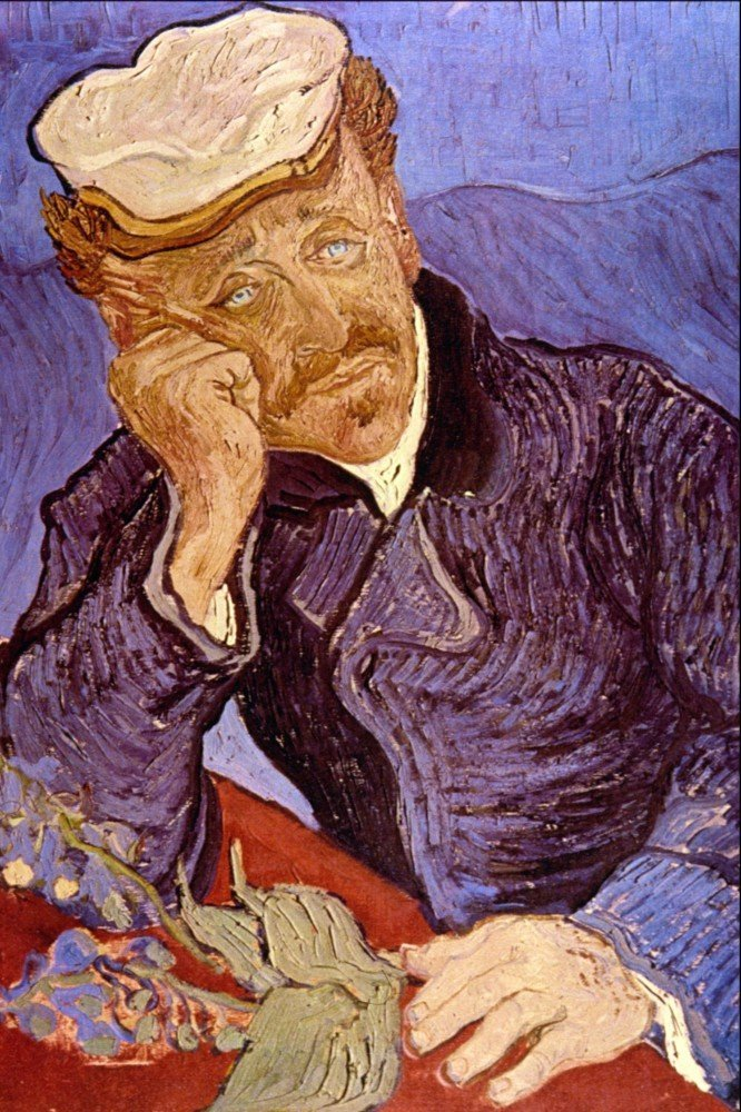 100% Hand Painted Oil on Canvas - Portrait of Dr Gachet by Van Gogh - 30x40 Inch