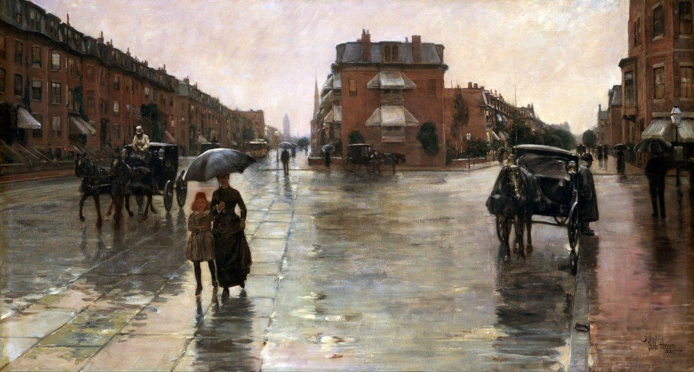100% Hand Painted Oil on Canvas - Childe Hassam - Rainy Day in Boston - 24x36...