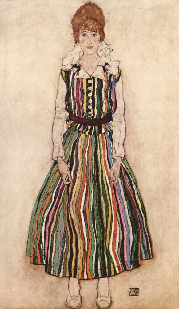100% Hand Painted Oil on Canvas - Portrait of Edith Schiele in a striped dres...