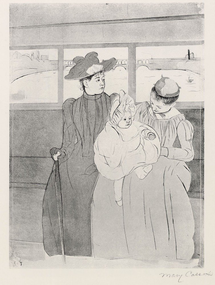 100% Hand Painted Oil on Canvas - The streetcar by Cassatt - 30x40 Inch