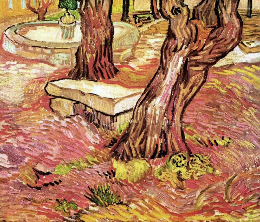 100% Hand Painted Oil on Canvas - The Stone Bench in the Garden of Saint-Paul...