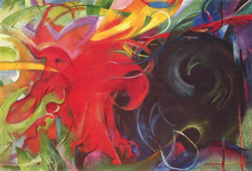 100% Hand Painted Oil on Canvas - Fighting forms by Franz Marc - 24x36 Inch