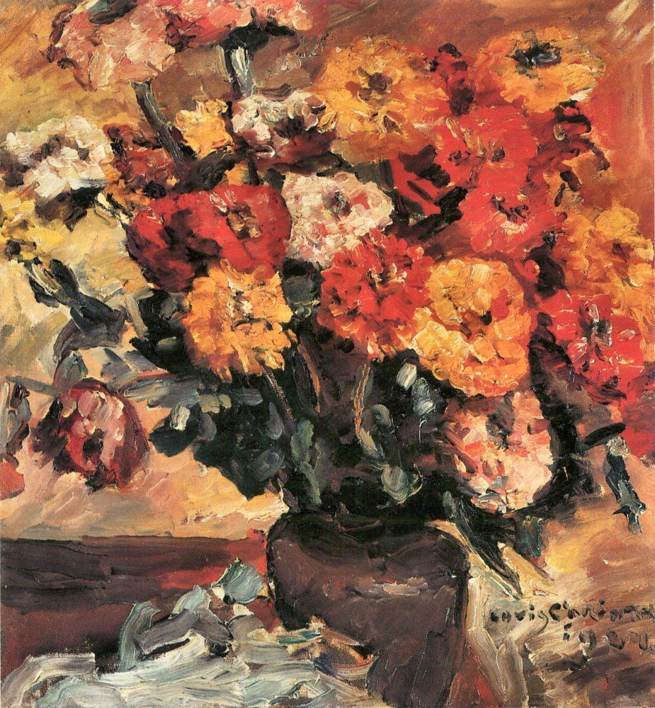 100% Hand Painted Oil on Canvas - Zinnias by Lovis Corinth - 24x36 Inch