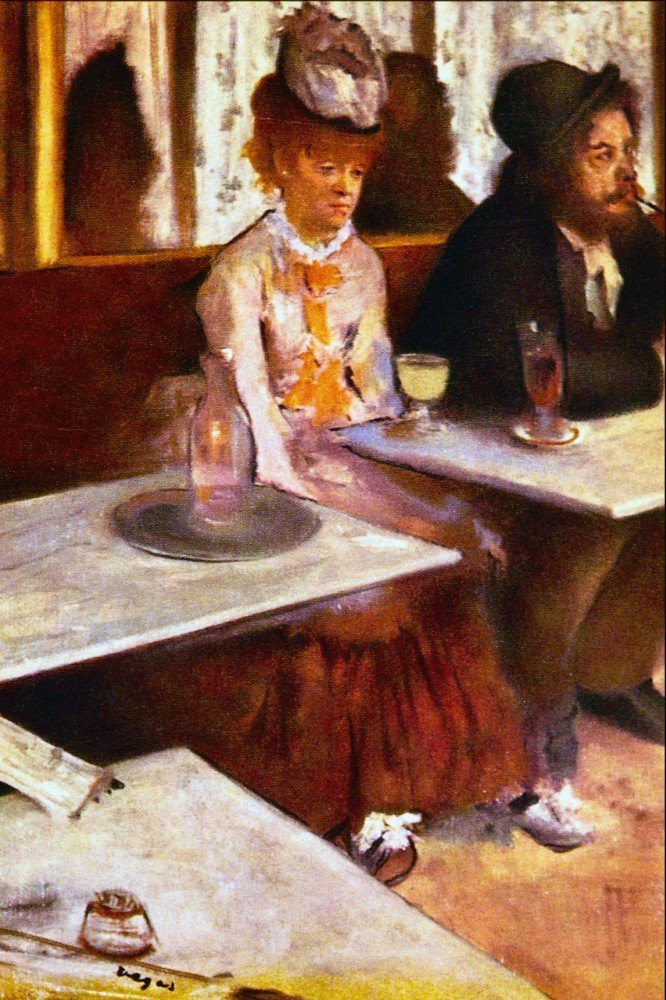 100% Hand Painted Oil on Canvas - Absinthe Drinkers by Degas - 30x40 Inch