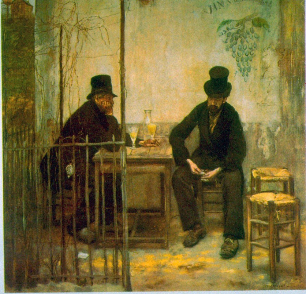 100% Hand Painted Oil on Canvas - Absinthe Drinkers by Raffaelli - 30x40 Inch