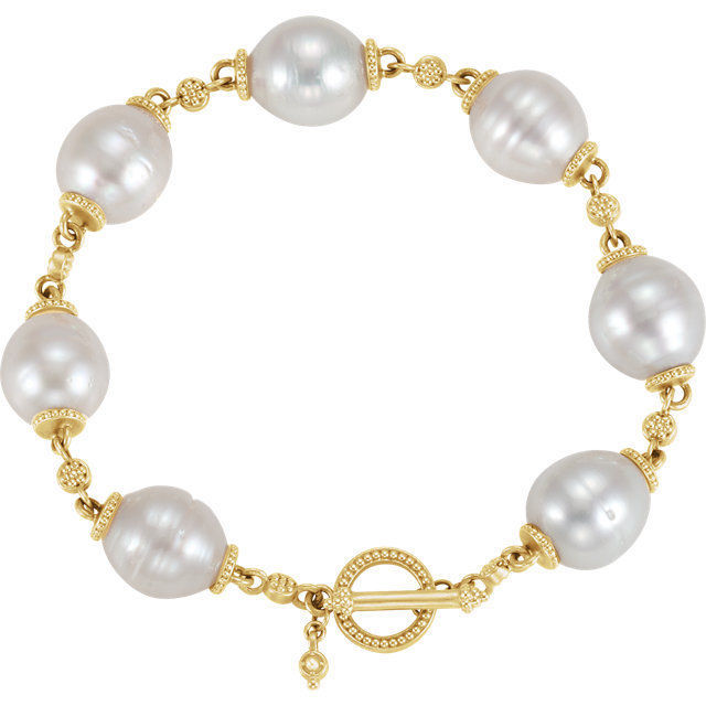 Pearl Toggle Bracelet In 14K Yellow Gold