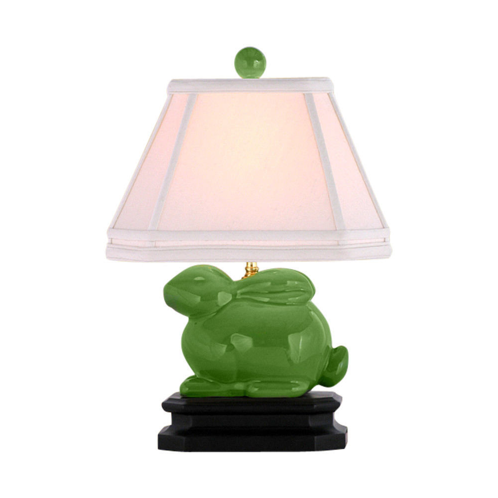 Cute Apple Green Porcelain Rabbit Table Lamp 15""