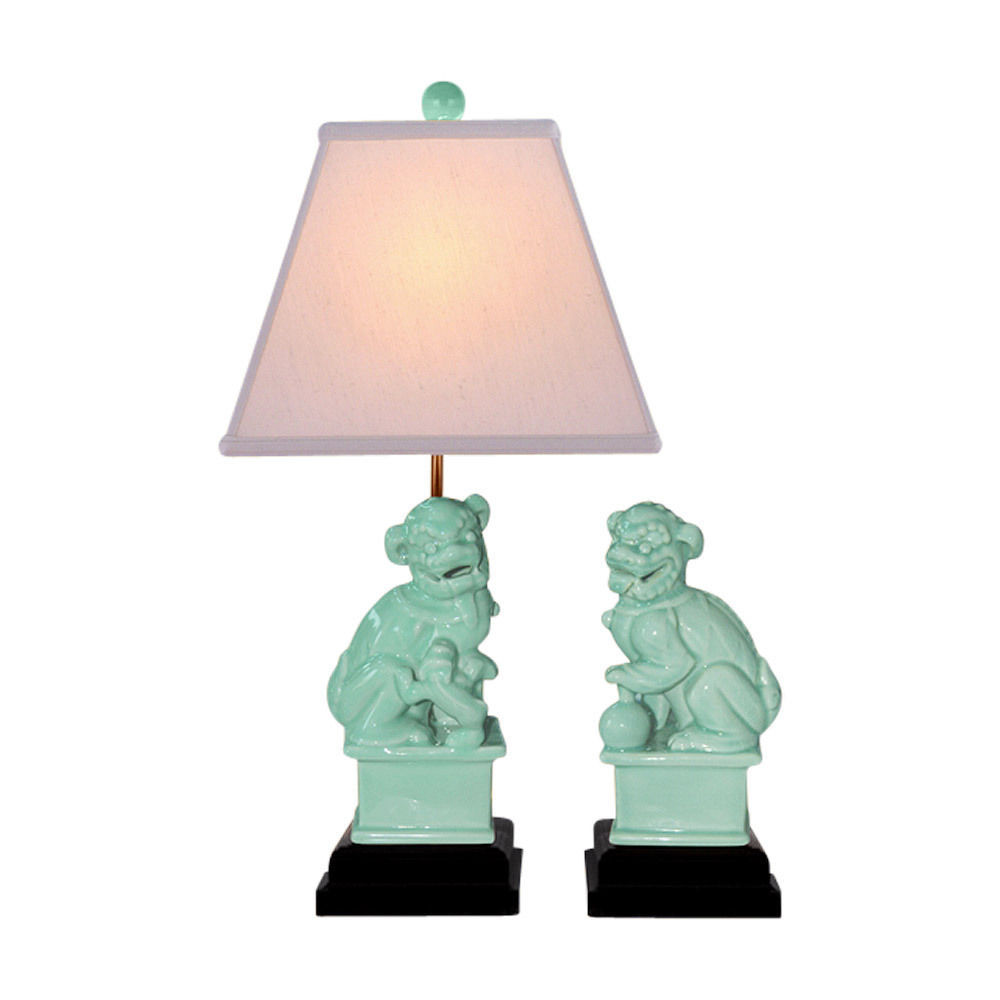 Cute Green Porcelain Pair of Foo Dog Figurine Table Lamp 23""