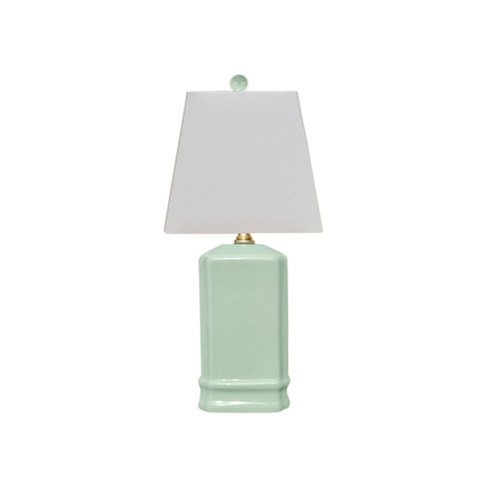 Cute Celadon Square Porcelain Table Lamp 14""