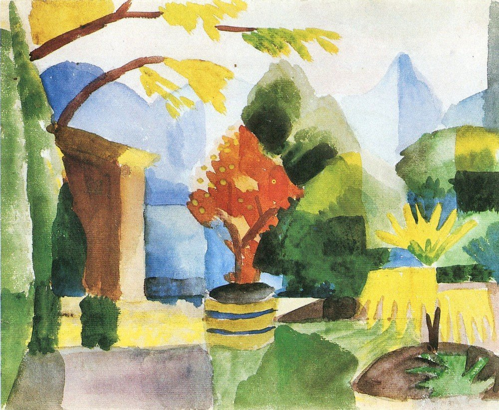 100% Hand Painted Oil on Canvas - Garden in Hilterfingen by August Macke - 30...