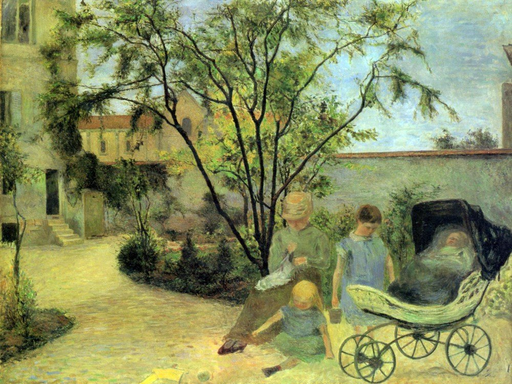 100% Hand Painted Oil on Canvas - Garden in Rue Carcel by Gauguin - 30x40 Inch