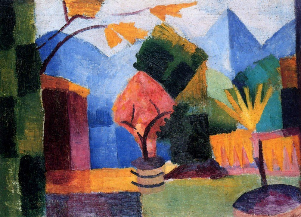 100% Hand Painted Oil on Canvas - Garden on the lake of Thun by Macke - 30x40...