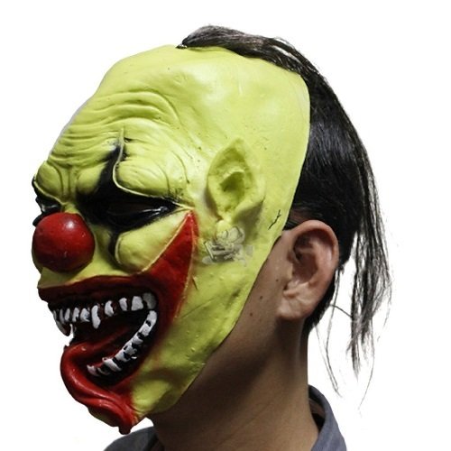 Green Full Face Clown Styled Halloween Party Masquerade Mask