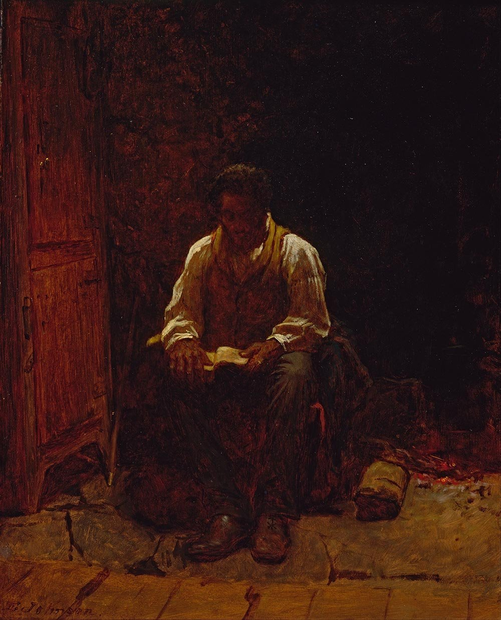100% Hand Painted Oil on Canvas - Eastman Johnson - The Lord Is My Shepherd -...