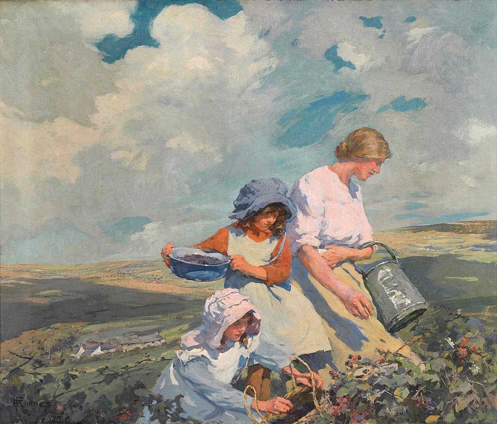 100% Hand Painted Oil on Canvas - Elizabeth Forbes - Blackberry gathering - 2...