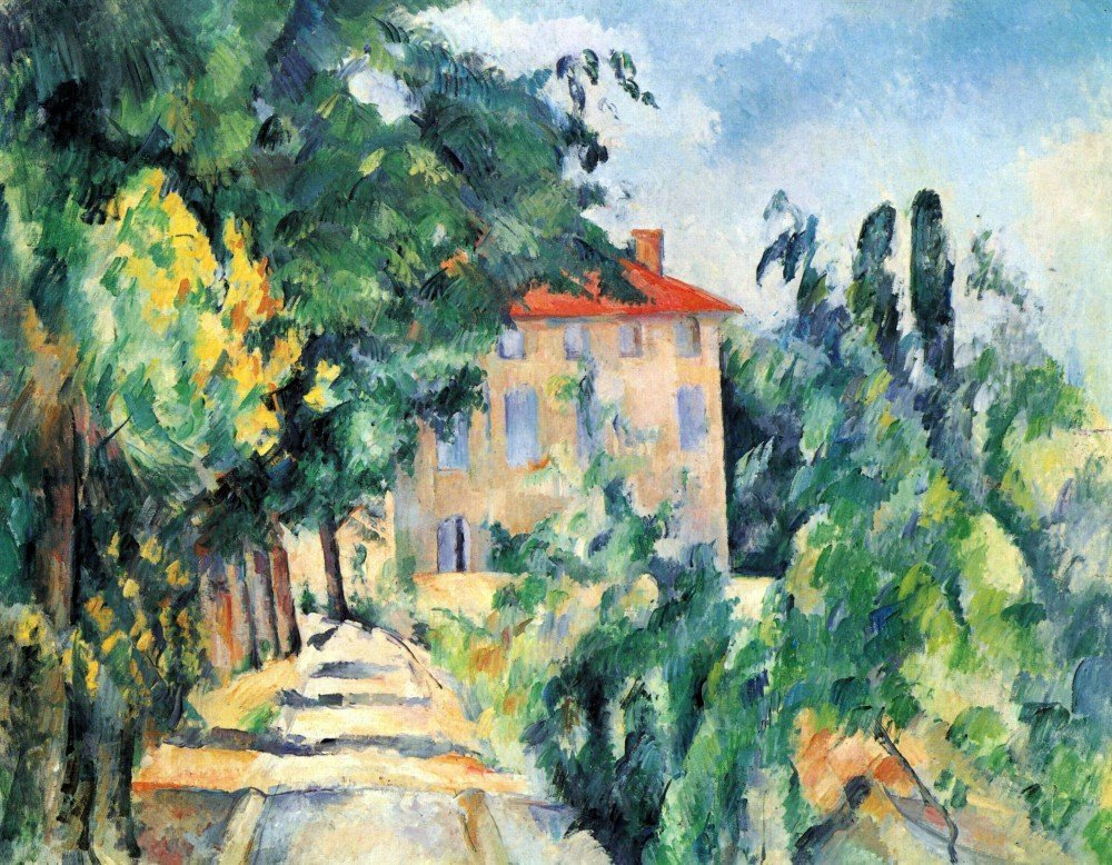 100% Hand Painted Oil on Canvas - House with Red Roof by Cezanne - 24x36 Inch