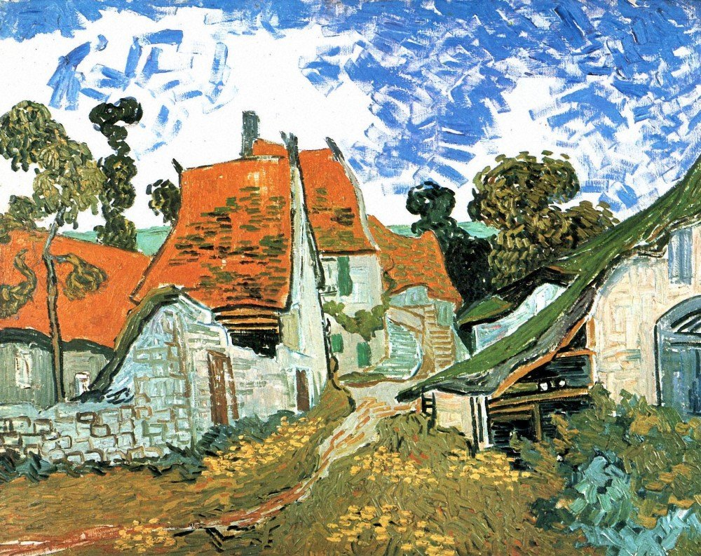 100% Hand Painted Oil on Canvas - Houses in Auvers by Van Gogh - 24x36 Inch