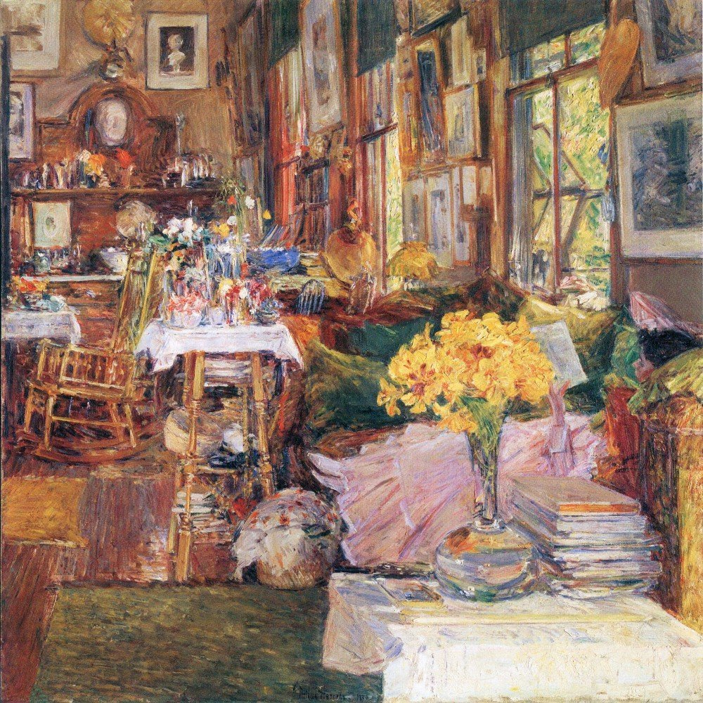 100% Hand Painted Oil on Canvas - The room of flowers by Hassam - 24x36 Inch