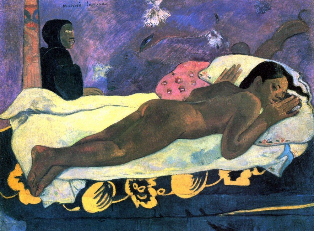 100% Hand Painted Oil on Canvas - Manao Tupapau by Gauguin - 30x40 Inch