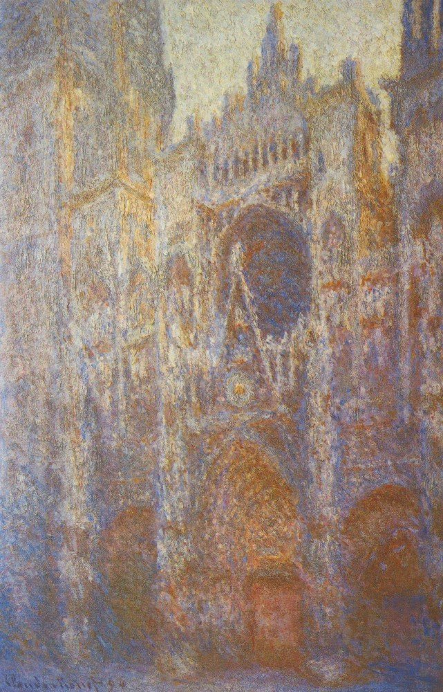 100% Hand Painted Oil on Canvas - The Rouen Cathedral, West facade by Monet -...