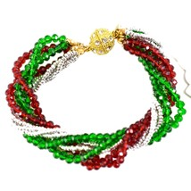 Green & Red Christmas Colors Holiday Twisted Multi-Strand Beaded Bracelet image 2