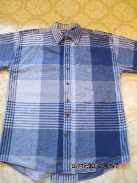 Blue Plaid Men's Shirt BC Blue Co. Large 100% Cotton