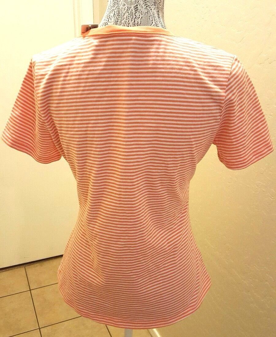 NWT Women's Inspired Style Coral & White Striped Casual Golf T-shirt Small $55