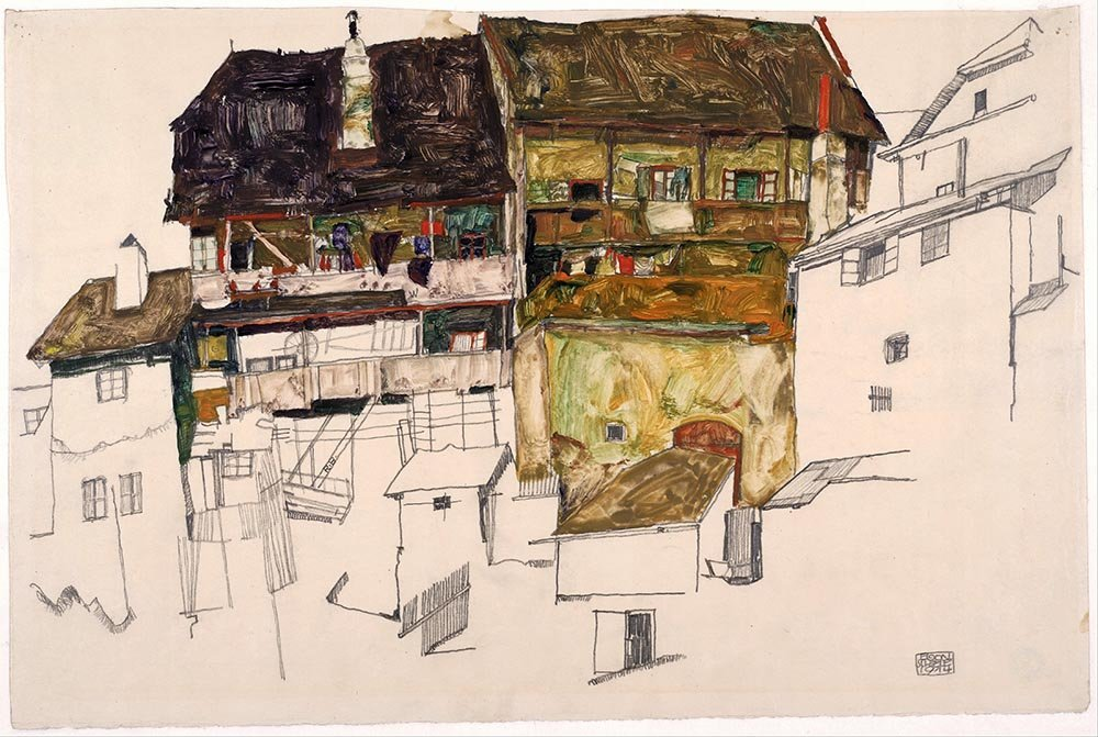 100% Hand Painted Oil on Canvas - Egon Schiele - Old Houses in Krumau - 30x40...